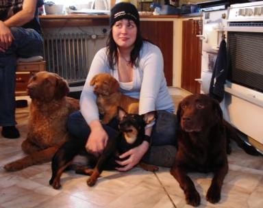 Min syster med Alva till vänster, Dixie till höger, Nova som valp i knät och Vila längst fram.